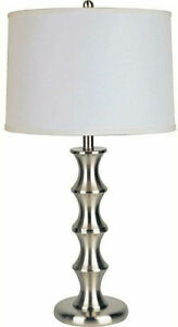 29.5-in. Satin Nickel Metal Table Lamp with linen shade