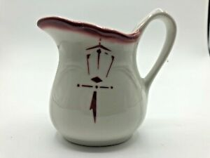 """Sterling Vitrified China Creamer White & Red East Liverpool Ohio USA 2.5"""""""