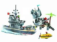 Military Navy Ship & Island Fort Custom Lego Set