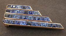 Antique heavy 18K gold Art Deco 8.0CTW Blue sapphire cluster brooch