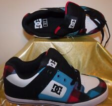 NEW! DC SHOES-ATHLETIC LEATHER SNEAKERS-SKATEBOARD - BLACK / BLUE / RED, SZ 5 M
