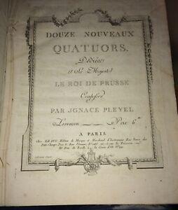 PLEYEL.PARTITION. Douze Nouveaux Quatuors concertans .DÉBUT XIXéme.