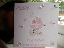 Handmade Personalised Becoming A Mummy Maternity Leave Baby Shower Card