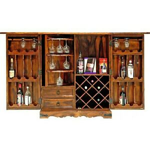 Wooden Large Sized Bar Cabinet which is Foldable made from Sheesham Wood