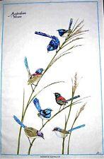 """Australian Wrens"" Australian Designed Blue Wren Cotton Bird Tea Towel - White"