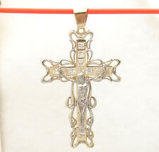 Bold Two-Tone Cross Crucifix Charm Pendant Jesus Real 14K Yellow White Gold 11gr
