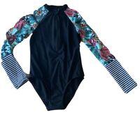 NEW Girls size 8 Long sleeve zip Swimsuit bathers Navy /& Black Target  UPF50