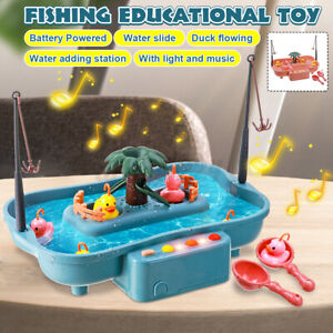 15pcs/set Childern Kid Fishing Game Toys Slideway Electronic Toy Water Pond