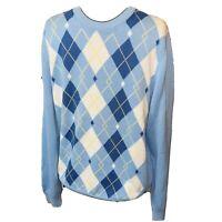 Brooks Brothers Blue White Sweater Medium Crewneck Supima Cotton Pullover