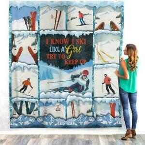 SNOW SKIING FLEECE BLANKET GIFTS FOR SKIERS MEN PRINT IN USA