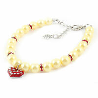 Beige Imitation Pearl Decor Lobster Clasp Pet Dog Puppy Collar Necklace L