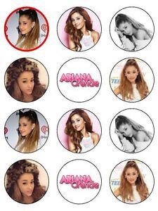 "12 x Ariana Grande 2"" PRE-CUT PREMIUM RICE PAPER Edible Cupcake/ Cake Toppers"