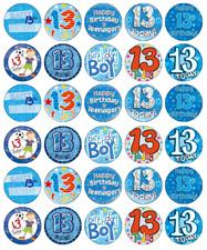 13th Anniversaire Garçon x 30 Cupcake Toppers Comestible Gaufre Papier Fée Gâteau Toppers