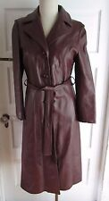 Vintage 80s Howards Exclusive Leather Long Duster Tie Trench Spy Coat Jacket S M