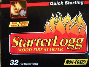 StarterLogg Firestarter Bricks 32 non-toxic Wood Stove Campfire Log Fireplace