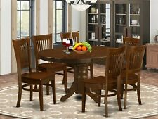 7pc oval dinette kitchen dining room set table w/ 6 wood seat chairs in espresso