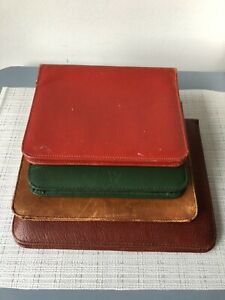 Vintage bundle of 4 Leather Zip Round Wallet / Stationery Case tan red green