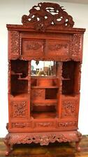 Chinese Dragon Carved & Red Lacquered Display Cabinet: Lot 194A