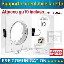 SUPPORTO DA INCASSO FARETTO ORIENTABILE GU10 50 MM METALLO BIANCO V TAC