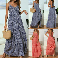 Women Summer Floral Maxi Dress Sexy V-neck Print Sleeveless Sling Beach Sundress