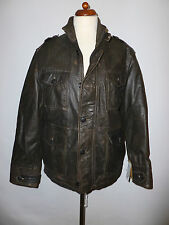 MENS RUGGED  REAL LEATHER JACKET- BY TRAPPER - SIZE XS 36/38  RRP £225