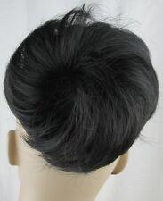 jet black fake pony tail bun elastic pull string hair piece extension scrunchies