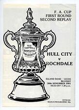 (Ga4661-469) Hull City vs Rochdale at Leeds 30th Nov 1981 FA Cup Rd 3 2R, VG-EX