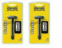 Wilkinson Sword Classic Shave Safety Razor with Double Edge Blades Pack Of 2