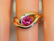 GORGEOUS Handmade 1 Carat Red Ruby 14K Yellow Gold Heavy Women's Ring Size 6