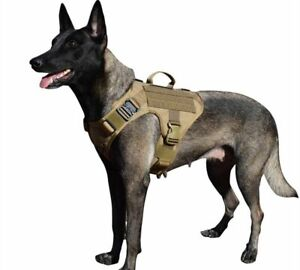 Tactical Working Dog Harness 2x Metal Buckle Molle Vest Handle No Pulling