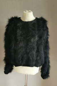 Topshop Black Marabou Feather Knitted Jumper Size 8