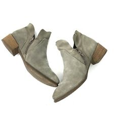 Seychelles Suede Leather Snake Trim Ankle Booties Boots Womens Size 7 Gray