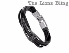 Urban Vintage style Braided Genuine Black Leather & Hemp Cord Bracelet