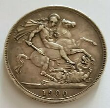 More details for 1900 queen victoria veiled head uk 925 silver crown coin