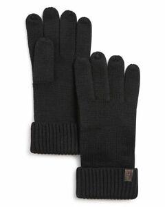 NEW ALLSAINTS Merino Wool Gloves RIBBED CUFF WAFFLE KNIT BLACK GRAY MEN'S **Z1