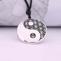 Pagan Flower of Life Yin Yang Tai Chi Pendant Talisman Necklace Kabbalah Jewelry
