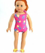 """Flowers Bathing Swim Suit for 16"""" Bitty Baby or 18"""" American Girl Doll Clothes"""