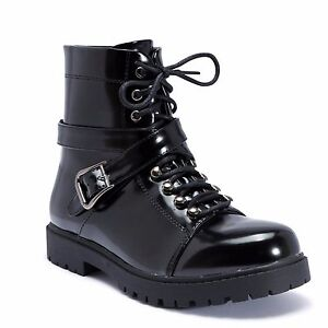 Truffle Colt4 Black Shiny Ankle Boots Cross Over Strap Flat Combat Boot