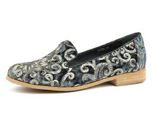 I Love Billy Quem Steel Sparkle Velvet Flat Shoes Loafers Sequins Size 41 9.5