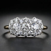 2.26 Ct Diamond Women's 3-Stone Cluster Engagement Ring 14k Yellow Gold Over
