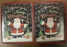 Leanin' Tree Christmas Cards, 12 Cards & Designed Envelopes, Santa, lot of 2