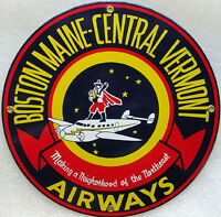 Boston Maine-Central Vermont Airway Vintage Aviation Metal Sign