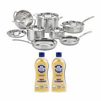 Cuisinart MultiClad Pro 3 Ply Stainless Steel 12 Pc Cookware Set and 2 Cleansers