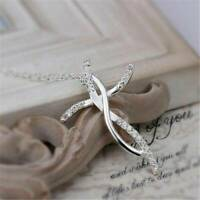 925 Silver Elegant Women Charms Cross Crystal Chain Necklace Wedding Jewelry New