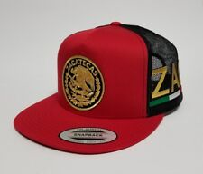ZACATECAS MEXICO HAT MESH TRUCKER RED BLACK   GOLD METALIC SNAP BACK   NEW
