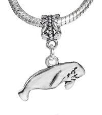 Manatee Beach Sea Cow Ocean Life Florida Dangle Charm for European Bead Bracelet