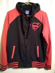 Mens DC Comics Superhero Superman Shield Letterman Jacket Snap Size M
