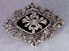 Black Enamel Faux Marcasite Silver Tone Brooch Pin