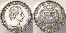 5 Lire 1828 Genova Carlo Felice Regno di Sardegna Argento Silver #5857A