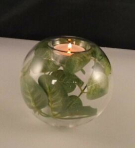 Globe Tealight Holder With Artificial Eucalyptus, Comes With 4 Tea Light Candle